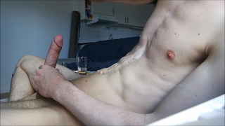 Home alone and jerkning my big hard cock off, BIG LOAD! Natural camgirl