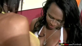 Four black tgirls suck each others throbbing cocks in circle