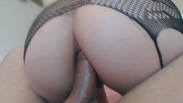 Gorgeous brunette ass fucked reverse cowgirl and cum swallow