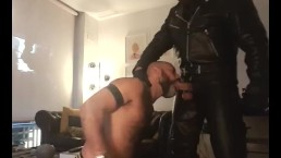 leather uniform blowjob