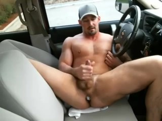 Country hunk in car with a buttplug