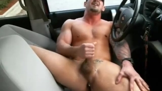 Country hunk in car with a buttplug Milf tits