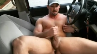 Country hunk in car with a buttplug porno