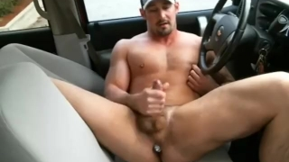 With a country buttplug in hunk car cock outside