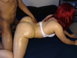Sexy red head get's her bubble butt fucked hard doggy style!