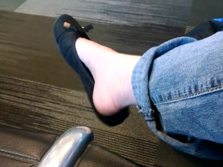 Foot Fetish Public Shoe Dangling at the Airport Pale White Girl