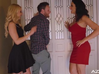 Preview 1 of One Lucky Bastard, Mitt has 3 way with hot Blonde and Brunette Milf