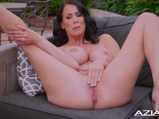 Sexy Milf Reagan Foxx gets naked and has orgasm outdoors
