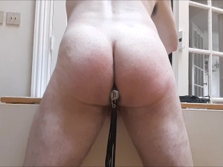 Leather flogging my ass after long ass fuck session
