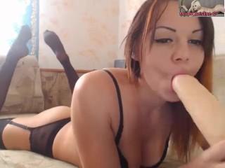 Moon Christine stuck in pussy vibrator