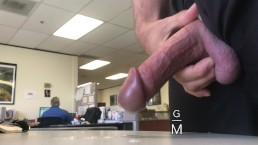 CUM IN OFFICE, Coworkers in background. Public workplace jerk off cumshot