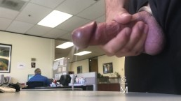 MY REAL BOSS ALMOST CAUGHT ME CUMMING AT WORK. Jerk off in office big dick
