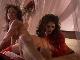Sexy MILF Cougar Wife Bring BFF to Fuck Her Husband and Share His Huge Load