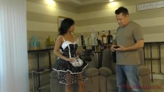 Asian Maid Makes Her Client Kiss Her Ass - Femdom - Ember Snow Dick buttplug