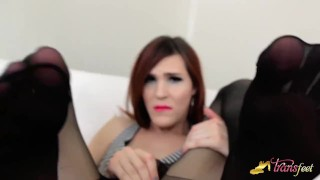 Stefani Special shows her feet in black pantyhose