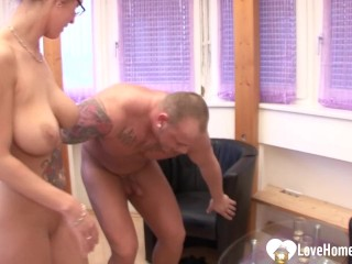 Busty babe sucked his cock and got rammed