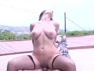 Big Tits Whore Fucked Poolside in Beverly Hills Mansion