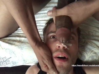 Sucking big black cock. Massive facial cumshot