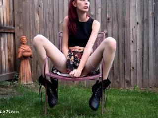 Redhead creamy upskirt masturbation in backyard wearing boots and stockings