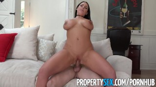 PropertySex - Sex addict tenant with big tits fucks landlord Point pov