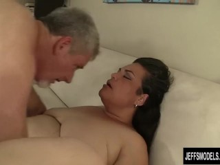 Fat Latina Angelina Is Licked and Fucked by a Horny Guy with a Goatee