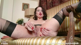 Milf Karina Currie strips off retro lingerie and toys pussy in nylons heels Cumshot blonde