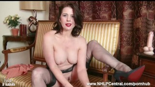 Milf Karina Currie strips off retro lingerie and toys pussy in nylons heels porno