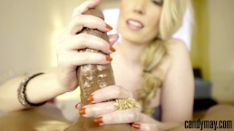 Candy May - RED NAILS JERKING OFF BF'S BBC