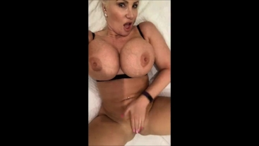Playing with my pussy in my black bra and panties huge orgasm
