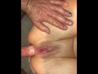Anal squirting over and over from big cock