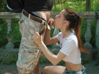 First time messy blowjob outdoor and swallow cum!