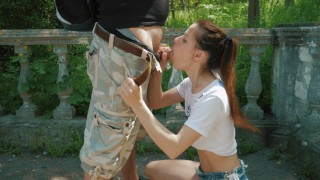 First time messy blowjob outdoor and swallow cum! Huge mouth