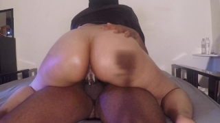 SHY BABYSITTER RIDES WILD AND CREMES ON DICK Trans tease