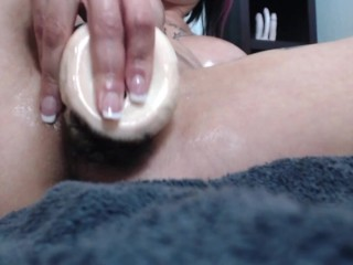 CUMSHOT - HUGE Tits Oily Body Toy Fuck 2-7-18 (preview)