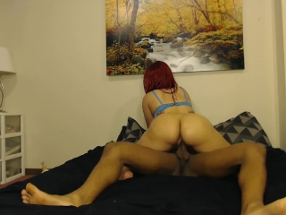 Beautiful red head w/ perfect bubble butt ride's huge cock like a pro!
