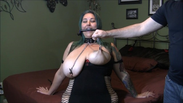 Western pleasure bridle - Chastity wears a bridle collar and nip clamps having her tits tortured