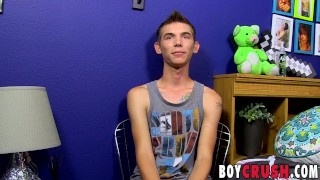 Twink Bentley Ryan strokes his large cock for an interview Latino uncut