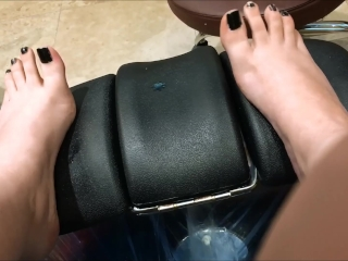 Pale Babe Getting Pampered with a Pedicure Toe Crunching and Spreading