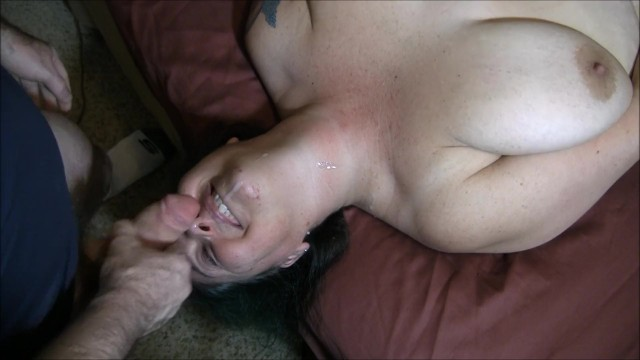 Matuer blow job Chastity gives a blow job gets throat fucked licks balls and gets a facial