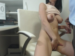 Masturbate at work Day 100 Work visit, fucked me and cum all over my body