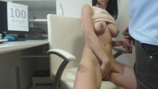 Masturbate at work :Day 100 :Work visit, fucked me and cum all over my body