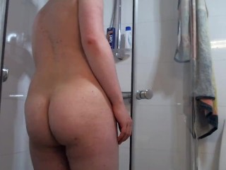 Anal and mastubrating in hot shower