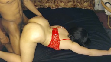 Bubble butt redbone get's fucked good by BBC in sexy red bra!