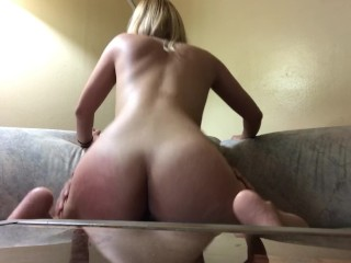 Sexy daddy nude busty blonde rides cock before work while smash bros plays in the back