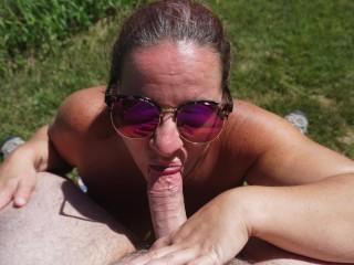 Wife Sucks Cock in the Backyard