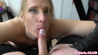 Busty police tranny cocksucking in POV Brunette pussy