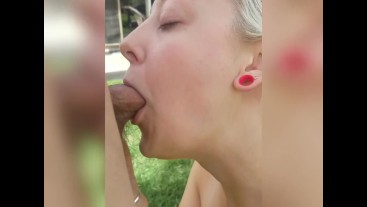 Sexy Young MILF Deep Throats and Gets Fucked Doggystyle Outside