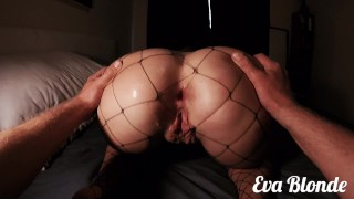 Teen Anal Fuck And Creamy Pussy Creampie In Fishnets - EvaBlonde