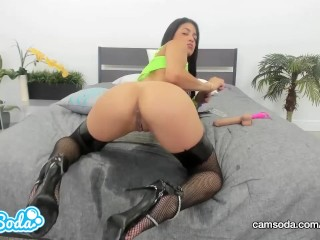 Veronica Rodriguez masturbates and SQUIRTS all over the bed