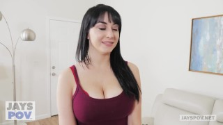 JAY'S POV - Busty Milf Allesandra Snow Gets Creampied by Pervy Photographer In mouth